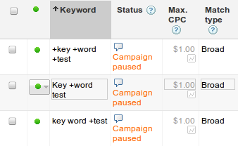 example of a modified broad match keyword